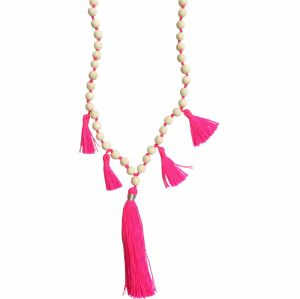 wooden bead necklace with neon tassels