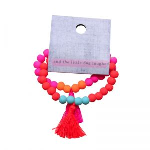 tassel bracelets  pink and orange