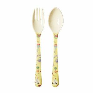 Kids Melamine Spoon and Fork with Boy Circus Print - Yellow