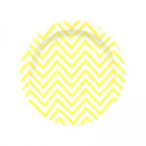 chevron paper plate - yellow