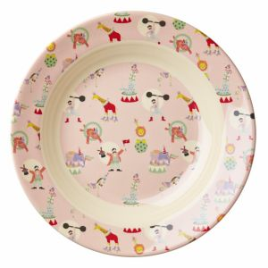 Kids Melamine Bowl with Girl Circus Print - Soft Pink