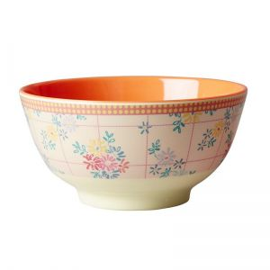 Melamine Bowl Two Tone with Embroidered Flower Print