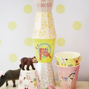 Box with 6 Small Melamine Cups in Girls Circus Prints