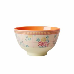 Small Melamine Bowl Two Tone with Embroidered Flower Print