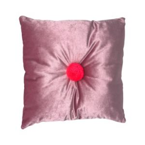 square blush pink velvet cushion