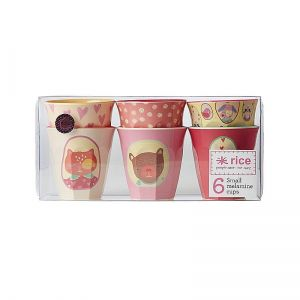 Box with 6 Small Melamine Cups with Girls Happy Camper Print