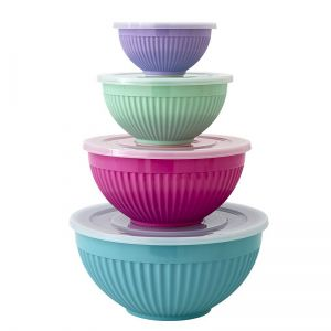 Melamine Bowls Set of 4 with Plastic Lid