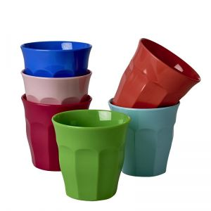 6 Medium Melamine Curved Cups in Assorted AMG Colors