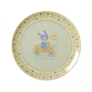 Kids Bamboo Melamine Lunch Plate with Boys Race Print
