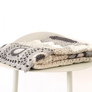 grey & cream hand crochet blanket
