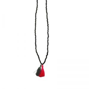 charcoal wooden bead necklace with tassels