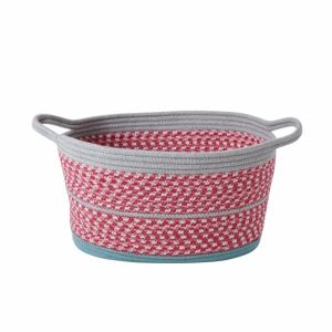 Medium Oval Rope Storage Baskets in Pink and Grey