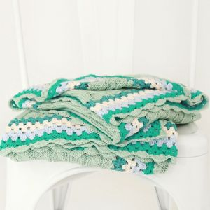 hand knitted mint green cable blanket