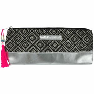 Black tribal/silver rectangle cosmetic bag