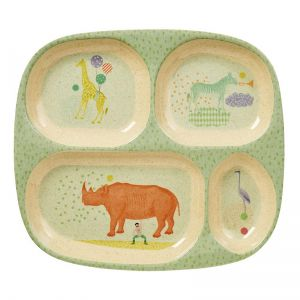 Kids 4 Room Bamboo Melamine Plate with Boys Animal Print