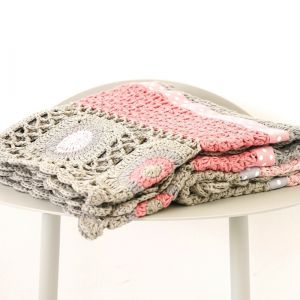dusty pink hand crochet blanket