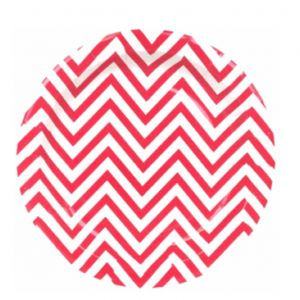 chevron paper plate - red