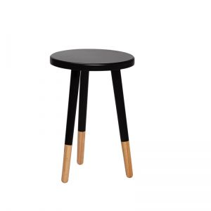 Wooden round stool black