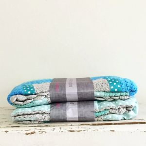 mint green & dusty grey hand crochet blanket