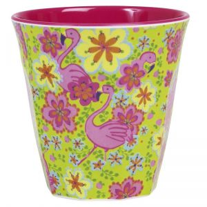 Medium Melamine Cup Two Tone with Flamingo Print