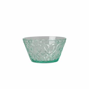 Acrylic Bowl with Swirly Embossed Detail - Pastel Green - Small