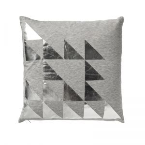 Grey with silver print cushion
