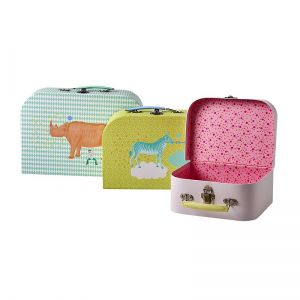 Cardboard Suitcase Set of 3 in Assorted Animal Prints