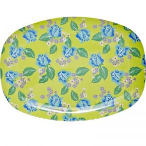 Rectangular Melamine Plate with Vintage Rose Print
