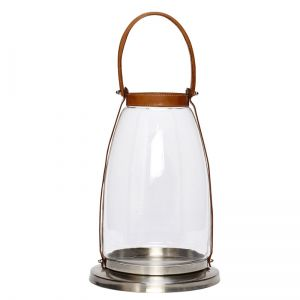 Lantern silver w/ leather handle