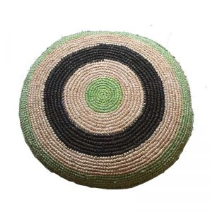 woven raffia cushion - green