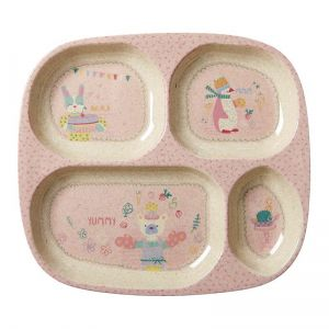 Kids 4 Room Bamboo Melamine Plate with Girls Cooking Print