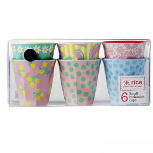 6 Small Two Tone Melamine Cups in Assorted 'In Color We Trust' Prints