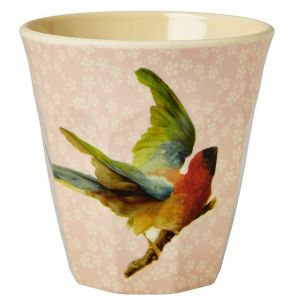 Melamine Medium Cup with Soft Pink Flower and Bird Print