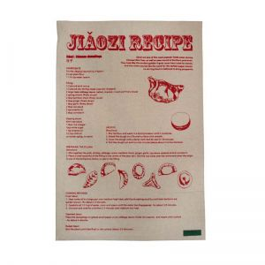 Jiaozi recipe Tea towel red